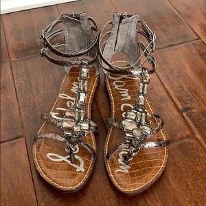 SAM EDELMAN Pewter Large Rhinestone Ankle Sandal